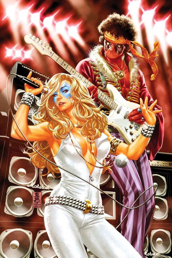 #Deadpool #Fan #Art. (DEADPOOL Original Sin #30 cover) By: Mark Brooks. (THE * 5 * STÅR * ÅWARD * [THANK Ü 4 PINNING!!!<·><]<©>ÅÅÅ+(OB4E)(Although legendary guitarist Jimi Hendrix used as variety of guitars throughout his career, his signature guitar was the Fender Stratocaster. Unlike most guitarist however, Hendrix played with the guitar upside down and restrung backwards so he could play left-handed.)…