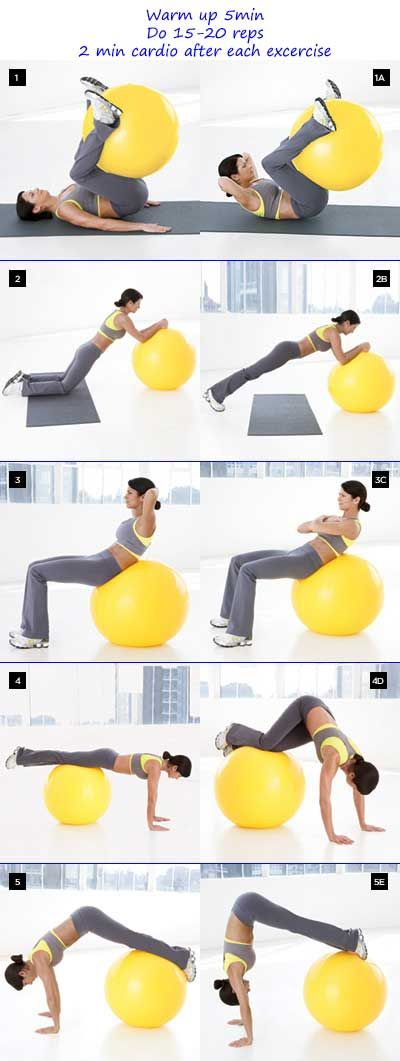Abs workout with stability ball. Do 2 min cardio between ...