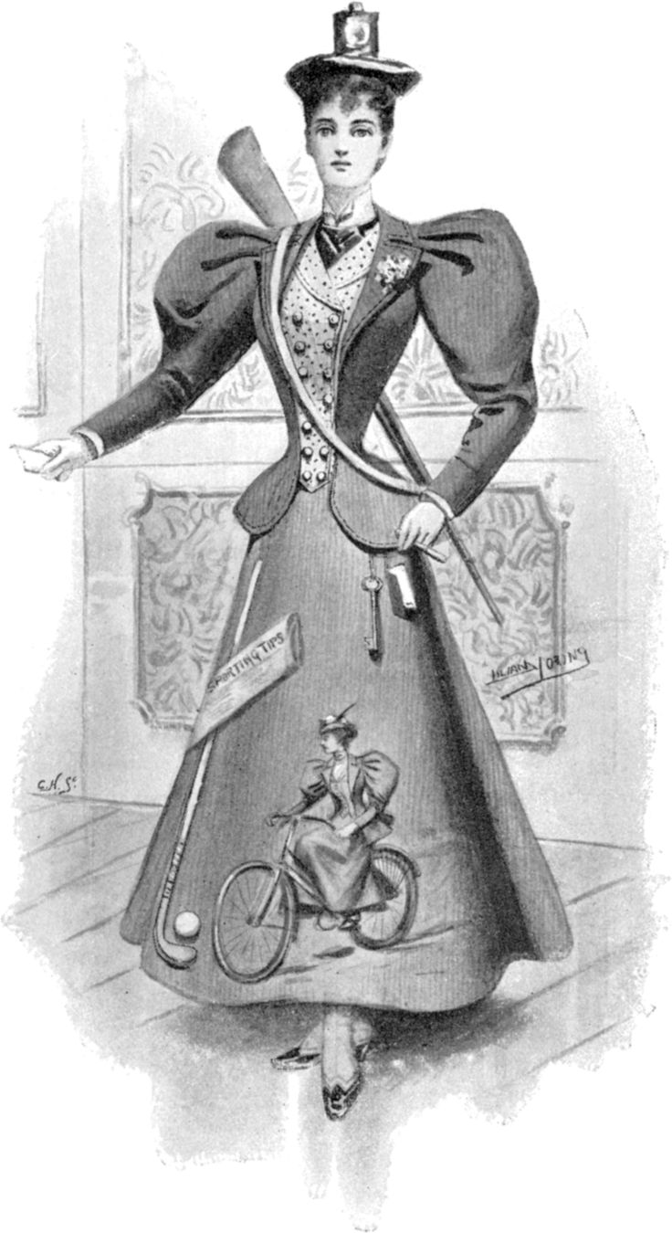 """The American Gilded Age era, """"New Woman"""", in America and England, - wearing her fancy dress costume. ~ The illustration, c.1896, depicts in her dress, the new sports she was a participant in; bicycling, a bicycle lamp on her hat, golf, hunting, and reading the, 'Sporting Tip's'. ~ {cwl}"""