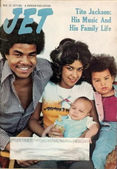 "Tito Jackson, Delores ""Dee Dee"" Martes, Toriano Adaryll Jackson II ""Taj"" and baby Taryll Adren Jackson on the cover of Jet. (November 1975)"