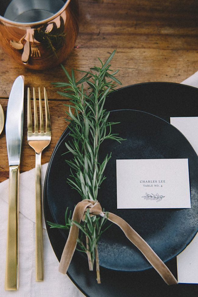 Entertaining & parties - Fall Table Setting Inspiration with black earthenware, copper mug, gold cutlery and rosemary sprig.