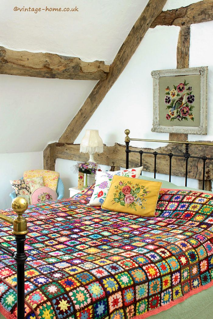 Colourful Patchwork Crochet Throw on the Victorian Iron and Brass Bed: www.vintage-home.co.uk