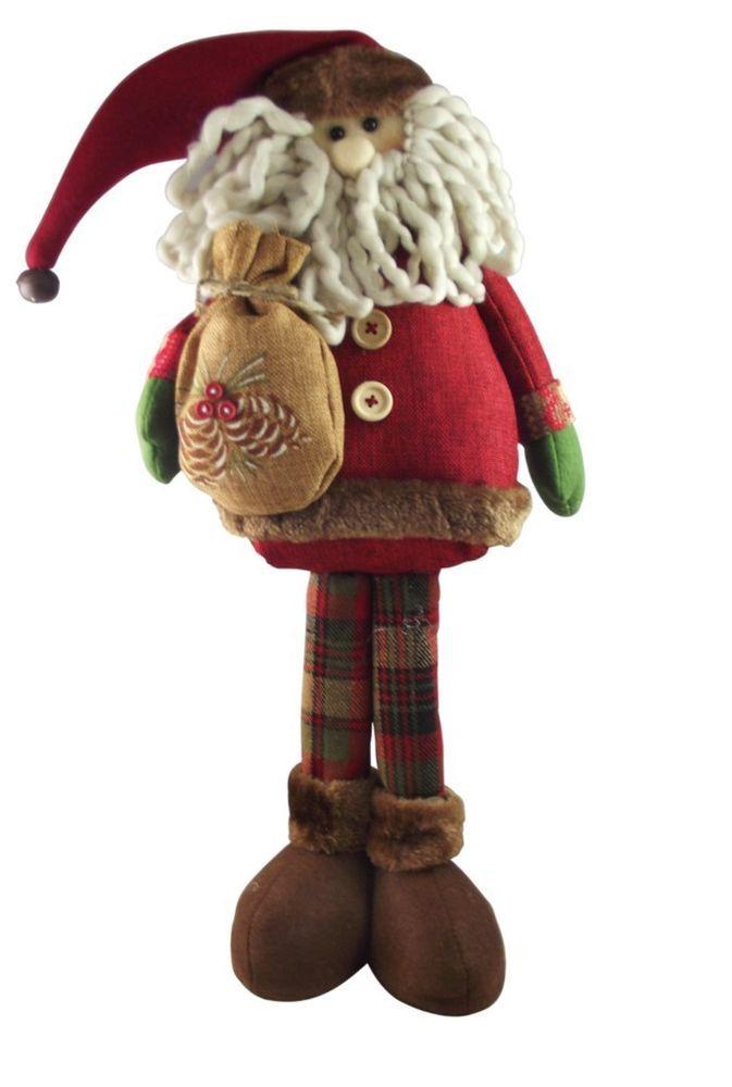 Gisela Graham Christmas Decoration - Plush Tartan Santa #GiselaGraham