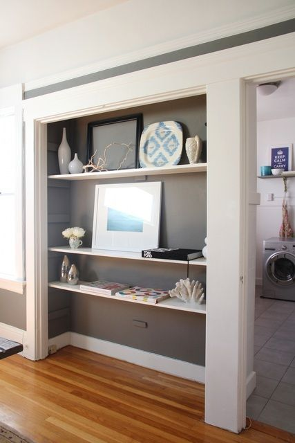Open up your space by transforming a closet into mini-gallery!