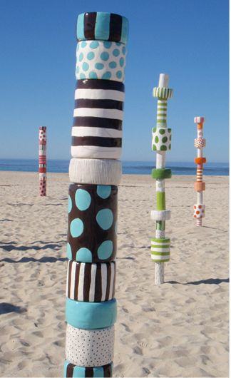 "Sally Russel Art Studio  9"" ceramic totem, standing 7ft, 5 inches. This color combination of turquoise and chocolate is delicious. Suited for indoor/outdoor moderate climate zones. Steel base with metal infrastructure."
