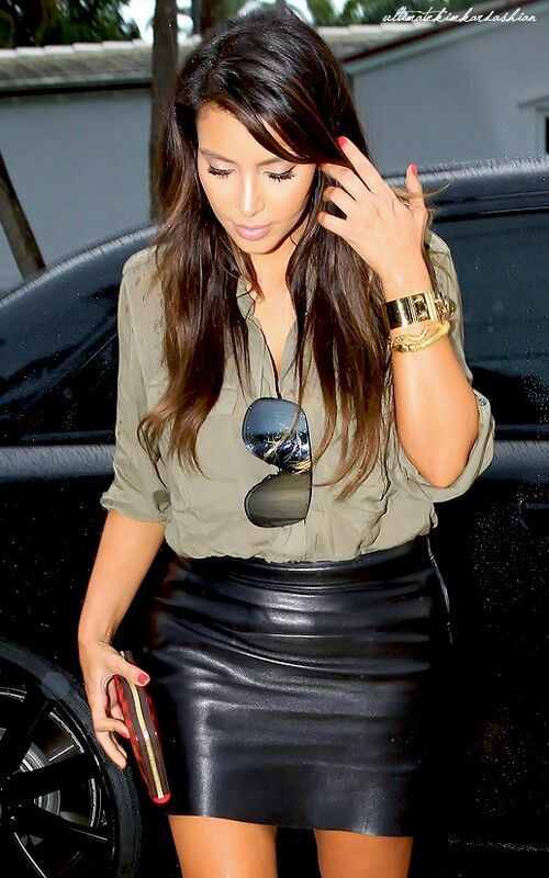 """another candidate for a """"Paige skirt""""   Army blouse + leather skirt"""