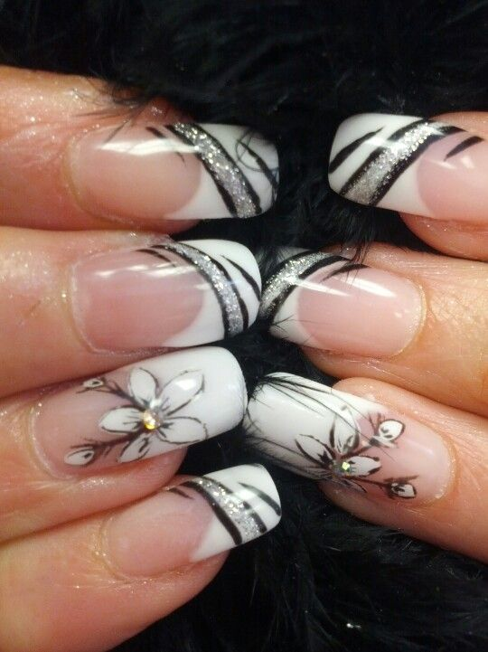 .black and white and silver bling nails