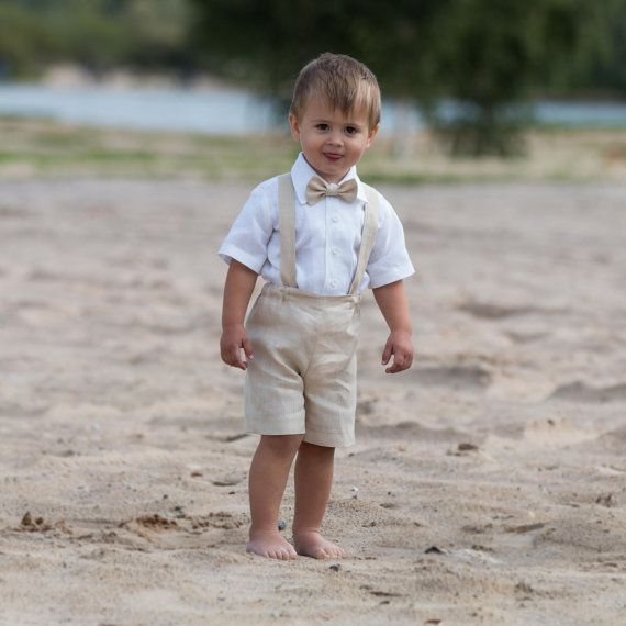 Ring bearer outfit Baby boy baptism clothes Boy linen suit First birthday shorts with suspenders Baby Wedding formal wear Light Beige outfit