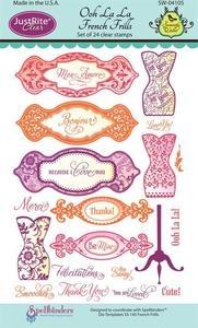 Spellbinders Just Rite Stamps Ooh La La French Frills 24 Stamps Dress Form