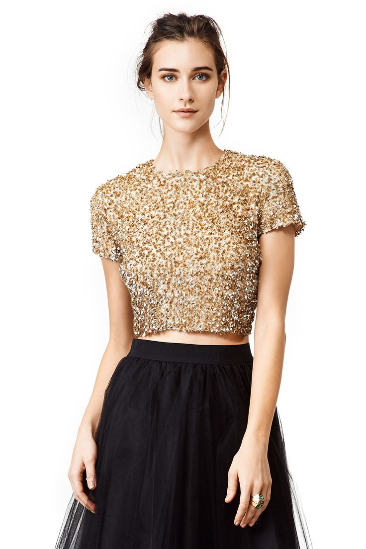 Love this 'Gold Dust' crop top by Badgley Mischka for Holiday parties or NYE!