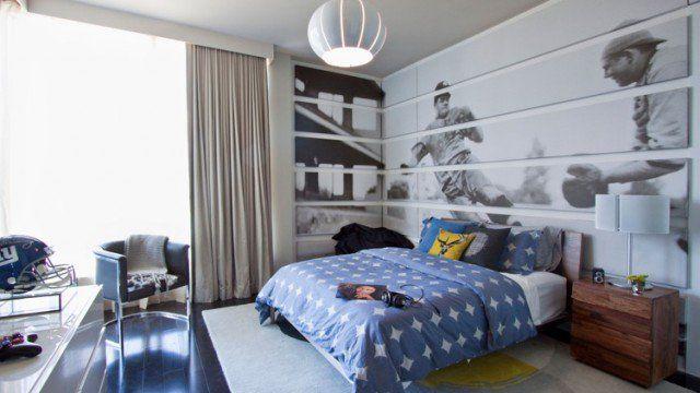 chambre d'un garçon adolescent-lit-table-chevet-bois-massif-déco-murale-thème-baseball