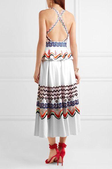 Temperley London - Spellbound Embroidered Cotton-poplin Midi Dress - White - UK10