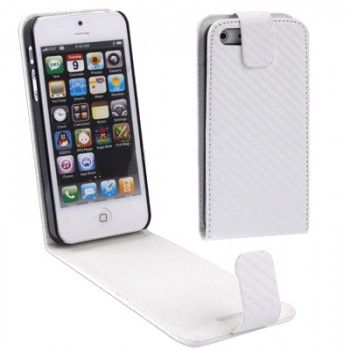 Carbon Texture Leather iPhone Case - White