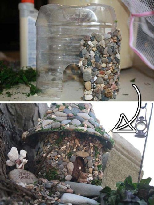 Plastic Bottle Stone Fairy House