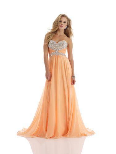 14 Stunning Strapless Prom Dresses | Peach dresses ...