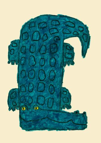 illustration japonaise : Yusuke Yonesu, crocodile, bleu, turquoise sombre, reptiles, animaux exotiques