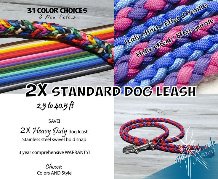 2X Standard Paracord Dog leash & SAVE! - 2.5 to 40.5 ft - 4 strands - Stainless steel - Heavy Duty - Customizable