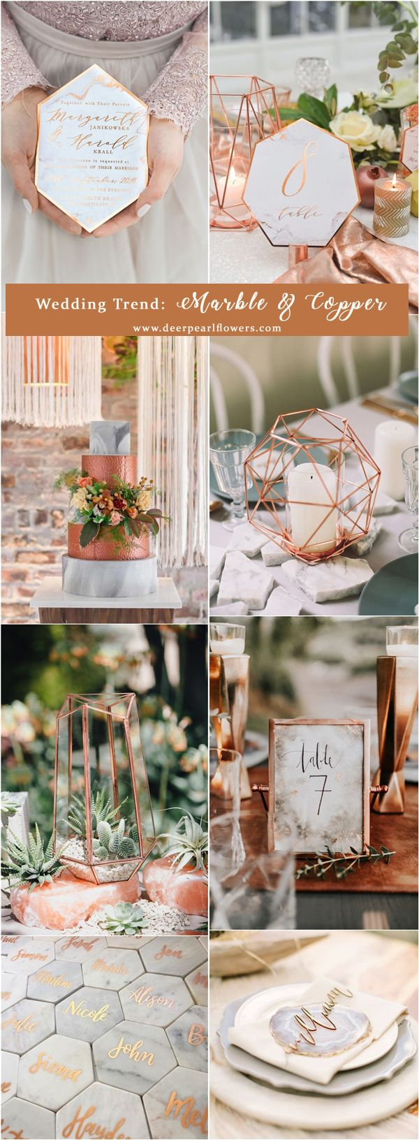 wedding trends marble and copper wedding ideas / http://www.deerpearlflowers.com/top-6-wedding-trends-for-2018/