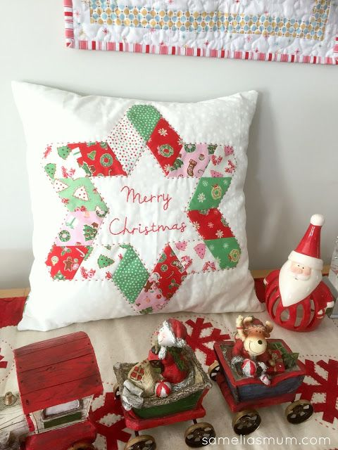 """One of my favourite things about unpacking Christmas decorations is finding things which I made the previous year/s and had forgotten about… like my """"A Star for Christmas Cushion"""" which I made for pub"""