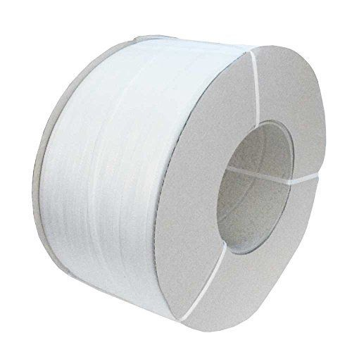 1 Rouleau 3000 m Solide 12 mm x 0,55 mm PP Polyester 200 mm Kern blanc