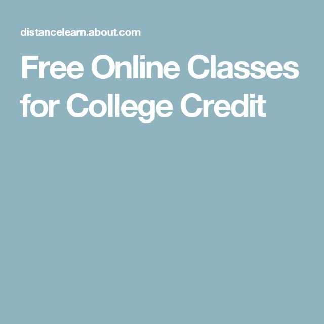 Free Online Classes for College Credit
