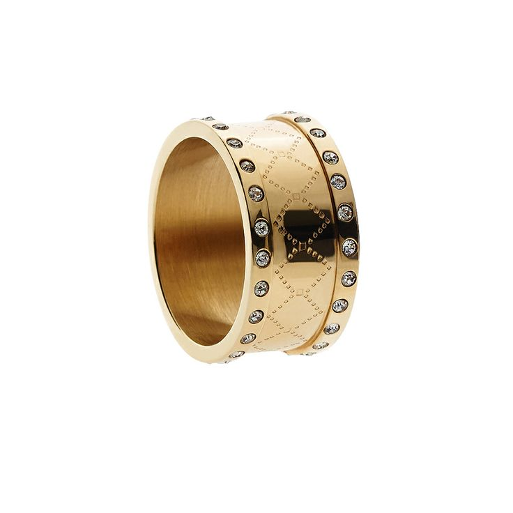 Oxettissimo Ring - Available here http://www.oxette.gr/kosmimata/daktulidia/s.steel-gold-plated-ring-2-rows-crystal-oxette677l-1/    #oxette #OXETTEring #jewellery