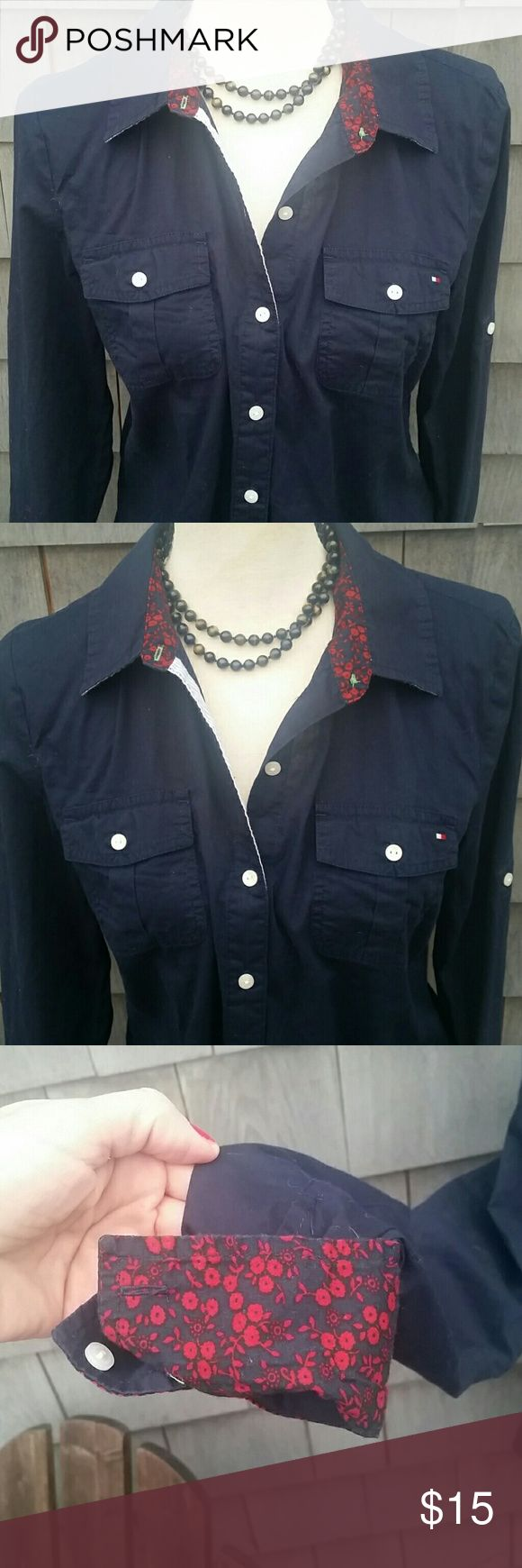 TOMMY HILFIGER NAVY BUTTON DOWN SHIRT Beautiful navy blue light weight shirt 100% cotton detail red cuff and inner collar. Nautical inspired. No rips or stains. Perfect condition Tommy Hilfiger Tops Button Down Shirts