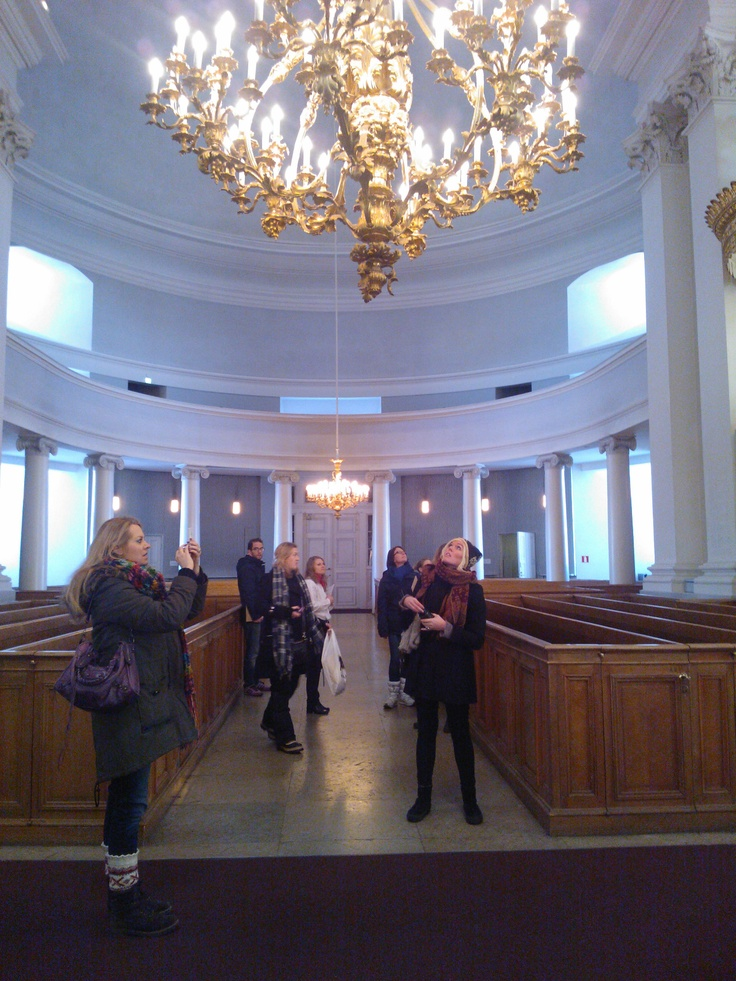 Wondering beauty in Helsinki Cathedral.