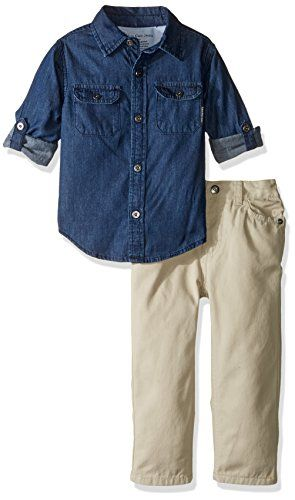 Calvin Klein Boys' Shirt with Two Pockets and Twill Pants Set
