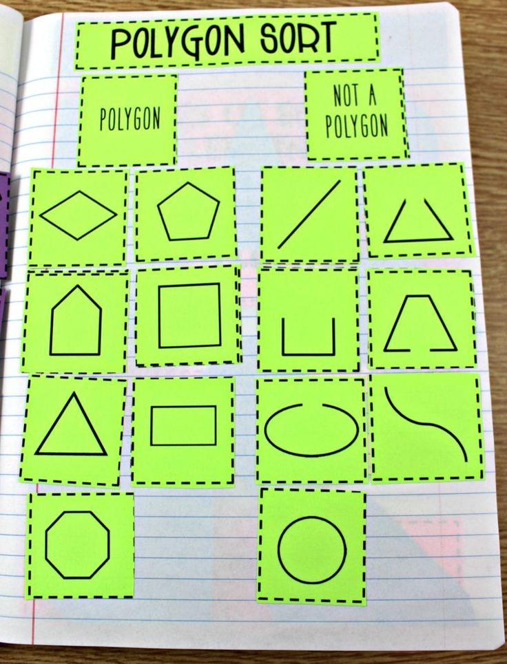 second grade geometry, second grade math journal, polygons, math  journal
