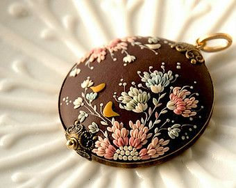 Ornata Nr.1 One of a kind, signed handmade polymer clay pendant on brass setting.