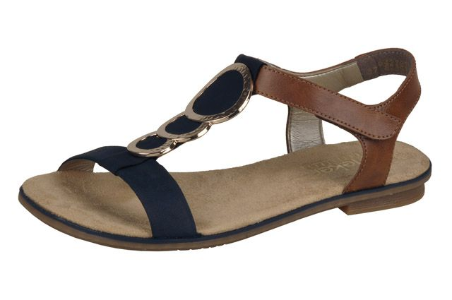 Gorgeous navy and tan flat sandal from Rieker's S/S 15 range