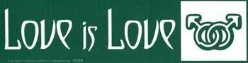 Love Is Love (male & Male Symbols) Bumper Sticker