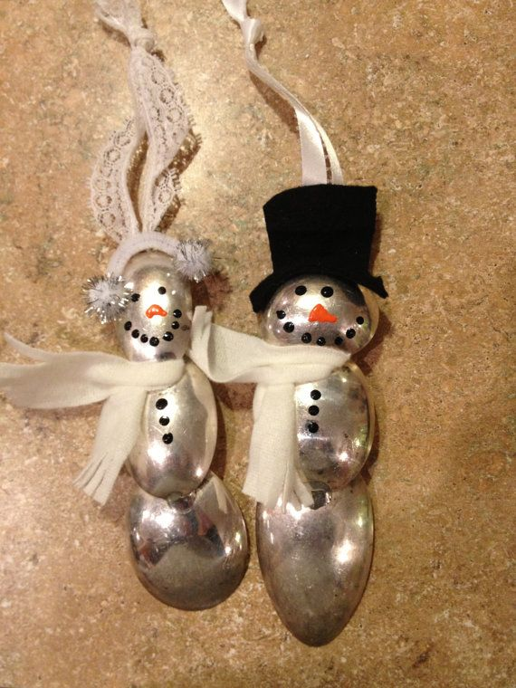 Spoon bowl snowman and snow lady ornament set by Girl Ran Away With the Spoon, $32.00