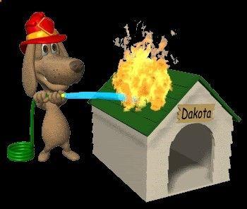 Gif de bombero. Mascota perro Dakota.