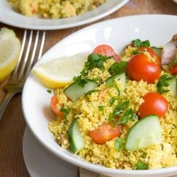 Tabbouleh (Tabouli) with Grilled Vegetables (Serves 8, 170 calories per serving)