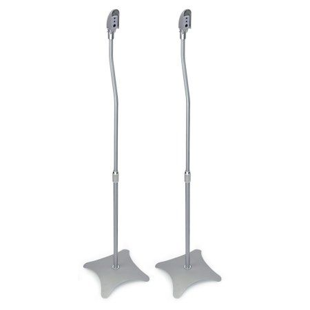 Mount-It! Speaker Stands for Home Theater 5.1 Channel Surround Sound System Satellite Speaker Stands Mounts, Rear and Front, One Pair (MI-1210), Silver