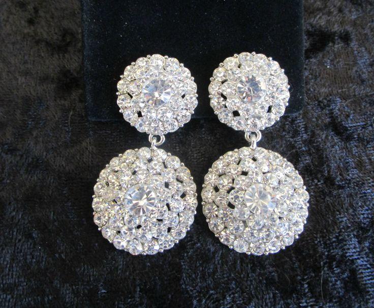 Art Deco Bridal Earrings, Clip On Bridal Earrings, Clip On Earrings, Clipon…
