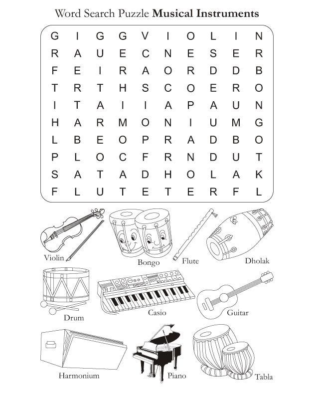Color in pages. Word Search Puzzle Musical Instruments  FREE DOWNLOAD