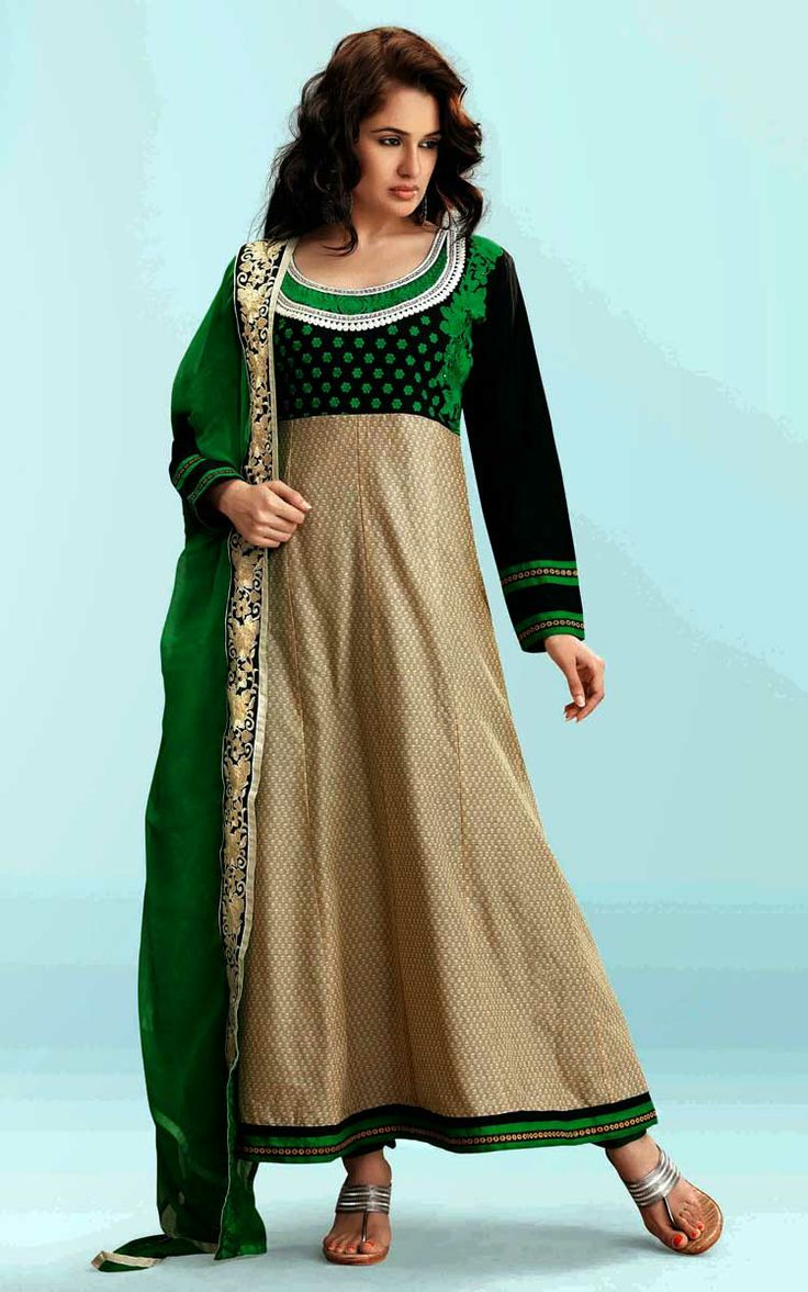 BLACK, BEIGE & GREEN COTTON PRINTED SALWAR KAMEEZ - WIS 145