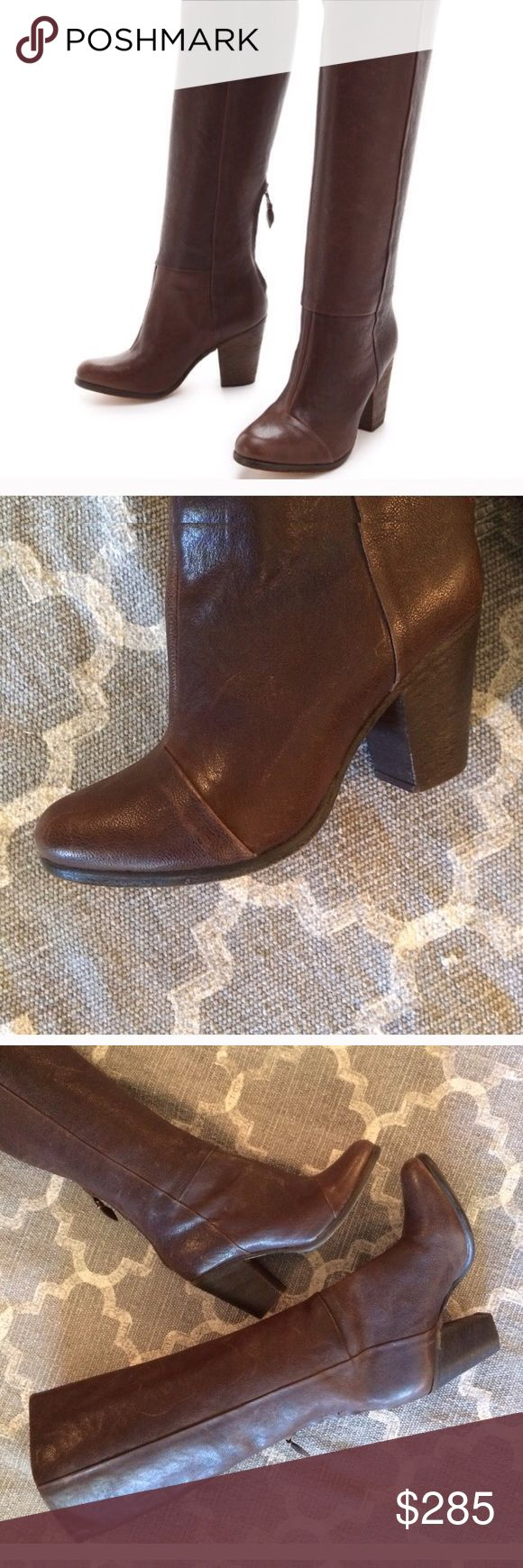 Rag & Bone Newbury Tall Brown Boots 37.5 Used with some scratches here and there, but has tons of wear left. Zippers functioning well. Inside is clean. Soles have normal wear. rag & bone Shoes Heeled Boots