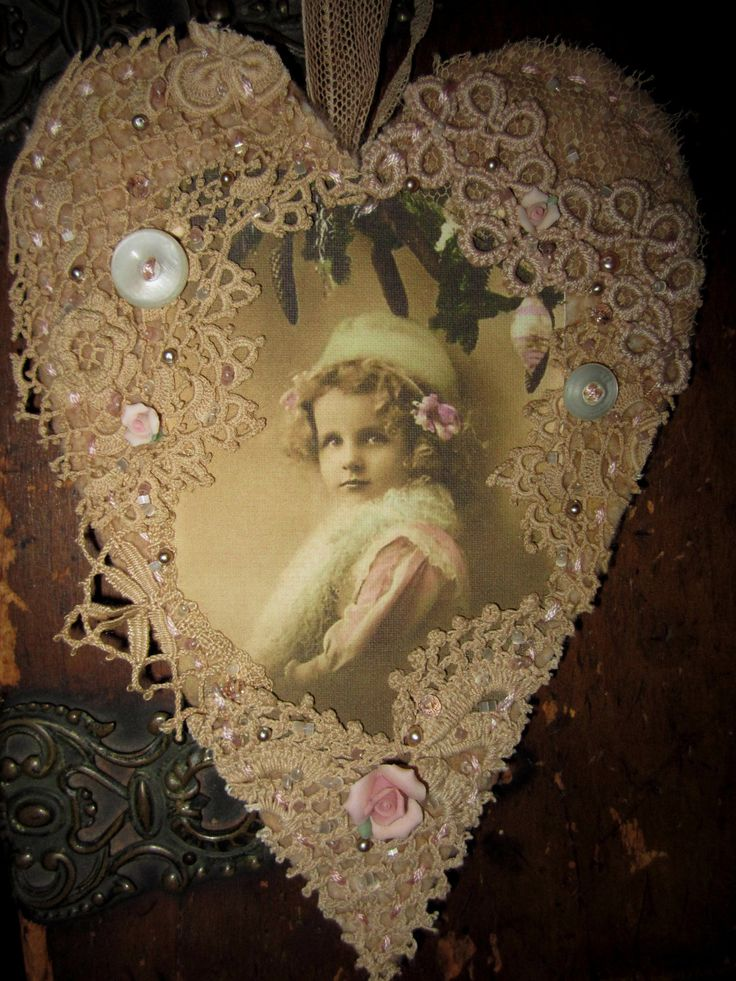 Winter christmas girl in pink vintage lace heart collage ornament