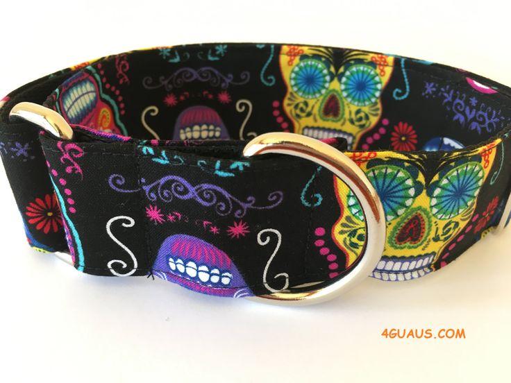 Collar perro Calaveras Folk Art, Collar martingale, Collar galgo, Martingale dog collar, Collares para perros, Correa perro, Calaveras,Negro de 4GUAUS en Etsy