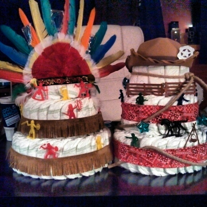 Baby shower diaper cakes cowboy and Indians...