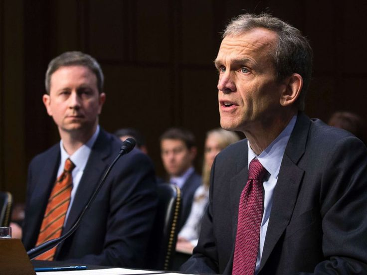 PHOTO: Kent Walker, right, Google senior vice president and general counsel, with Colin Stretch, Facebook general counsel, testifies during a hearing on the social media influence in the 2016 U.S. elections, in Washington, D.C., Nov. 1, 2017.