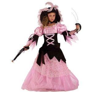 Πειρατίνα Σταρ στολή για κορίτσια με μακρύ ροζ φόρεμα και καπελίνα