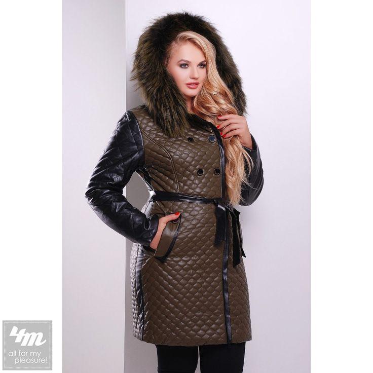 Куртка Glem «13-191» (Хаки-черная отделка) http://lnk.al/2Zt9  Состав:  верх: PU кожа подкладка: 100% полиэстер наполнитель: 100% полиэстер отделка: натуральный мех