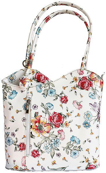 Multi-Way Floral Leather Shoulder Bag/Backpack