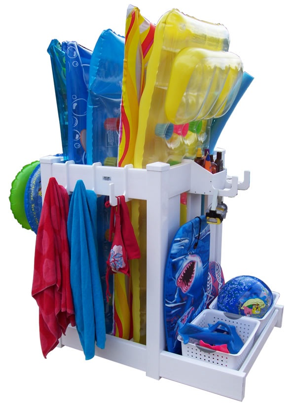 Pool Toy Storage Ideas pool toy storage bins organize a lot of items without taking up a lot of room use these pool toy organizers for pool toys and swimming pool accessories I Need To Come Up With Some Kind Of Poolbeach Toy Storage For The