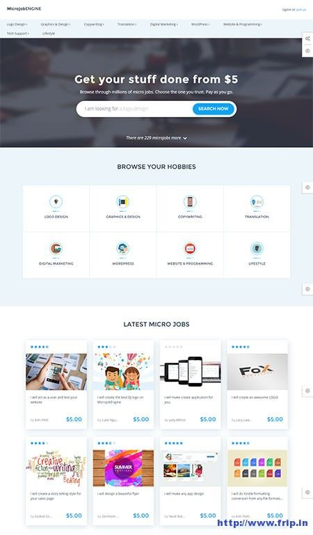 New Theme Launched to create Micro job marketplace website :)   MicrojobEngine Micro Job Marketplace WordPress Theme By Engine Themes  http://www.frip.in/microjobengine-micro-job-marketplace-wordpress-theme/